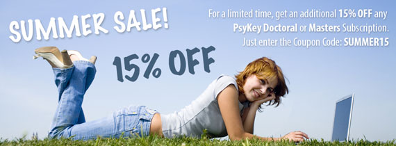 Save 15% off PsyKey Doctoral and Masters Subscriptions
