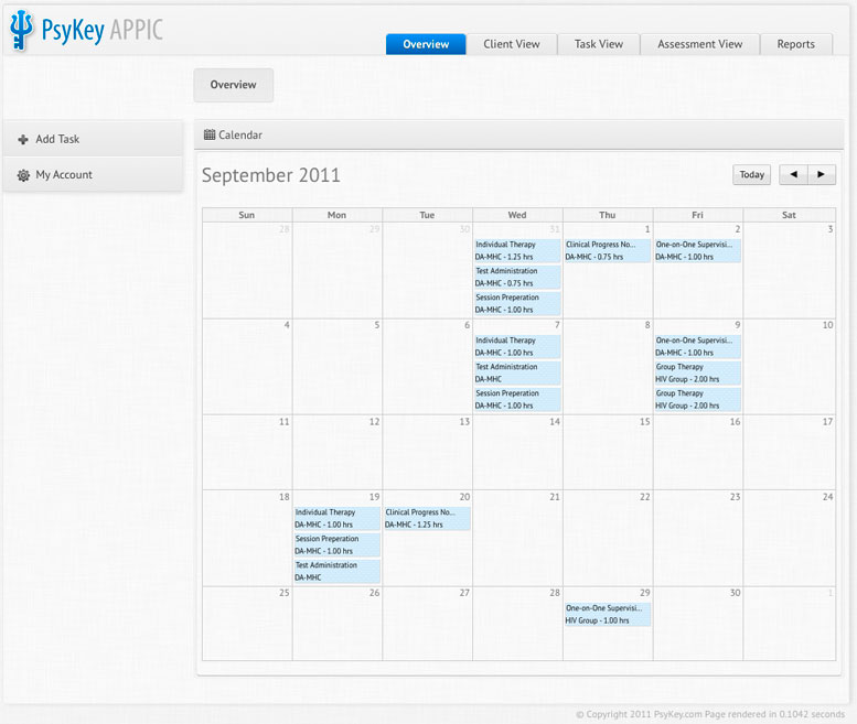 Calendar Overview : Time track alternative psykey doctoral clinical